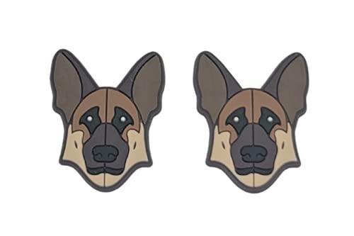 German Shepherd Dog Shoe Charm compatible with Crocs Clogs Wristbands Set of 2