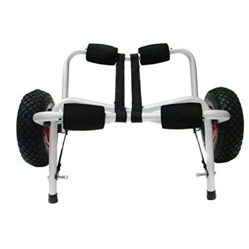 Sairis - Soporte de Aluminio para Remolque de Kayak o Kayak, portátil, Plegable, Ruedas hinchables, Carrito de Kayak, Color Negro