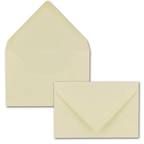 100x Brief-Umschläge 12 x 18 cm ca Din B6 mit Nassklebung- Creme- stabile 100 g/m² - Post-Umschläge, Brief-kuvert aus Feinst- Papier