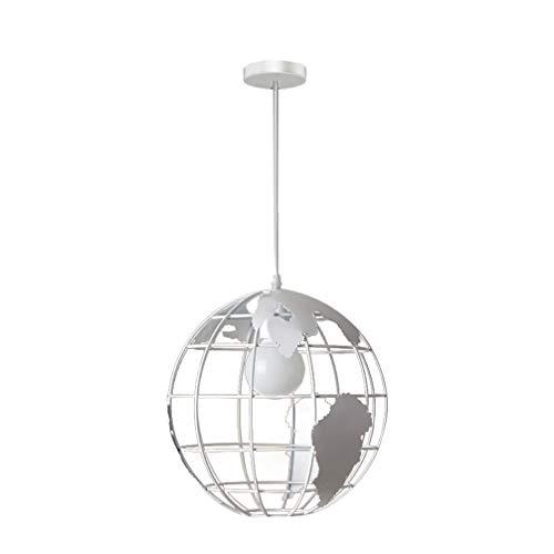 FRCOLOR - Lámpara colgante de estilo europeo único con cabeza moderna, lámpara de techo, lámpara de globo, lámpara de día y jaula de luz para casa, café, bar, cocina, color blanco