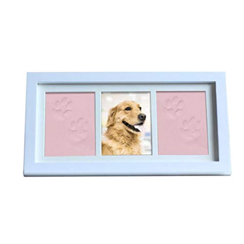 Odoukey Kit de Marco de Fotos de la impresión de DIY Regalo Personalizado Marco Doble Almohadilla de Tinta Foto para Amantes de Las Mascotas Memorial Rosa Claro