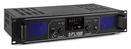SkyTec 2 x 500W DJ PA versterker SPL1000MP3 met USB MP3 speler