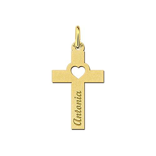 Namesforever Venetiaanse ketting met communie kruis-hanger met uitgestanst hartje van echt goud met gravure van je naam