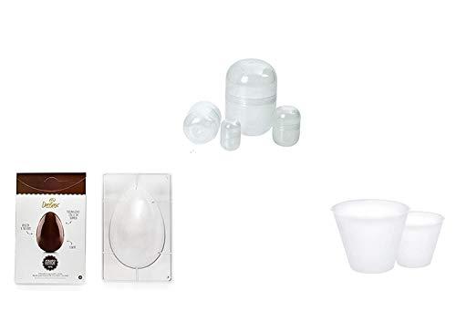 Kit Préparation oeufs Pâques artisanale – N ° 23 CDC (1 Moule à œufs en polycarbonate de 350 gr, 10 bases svasate pour œufs de 350 gr, 10 bussolotti pour Surprise Intérieur oeuf)