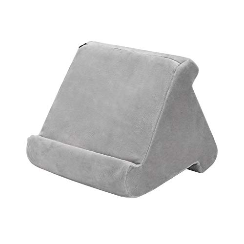 Pillow Stand - Multi-Angle Soft Pillow Lap Stand,Tablet,Smart Phones,Digital Book Readers,Rest,Books and Magazines Support Cushion,Used On Bed Desk Car Sofa Lap Floor Soft Pillow (Grey)