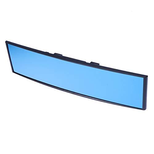 VOSAREA Espejo retrovisor universal para coche, gran angular, panorámico, antideslumbrante, para el interior, espejo retrovisor de visión amplia, espejo curvo de 300 x 75 mm (azul)