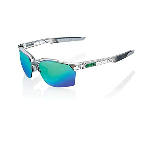 100 Percent SPORTCOUPE-Polished Translucent Crystal Grey-Green Multilayer Mirror Lens, Occhiali Ciclismo Uomo, M