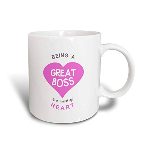 N\A Taza de cerámica Work of Heart-Super Awesome Good Boss Quote, Blanco