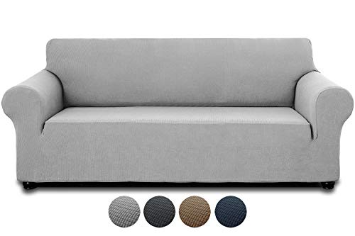 INFANZIA Premium Sofa Covers Protector for Oversize sofa, Super Stretch Couch Cover 3 Seater with Anti-slip Foam Strips & Elastic Band – Perfect for Home Decoration (Light Gray,190-245cm)