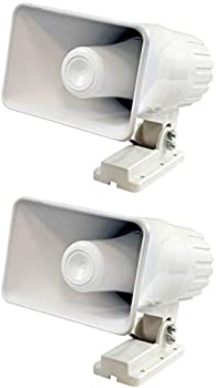 Pyle PHSP4 6  50W Indoor/Outdoor Waterproof Home PA Horn Speaker White 2 Pack with Mounting Bracket and Hardware