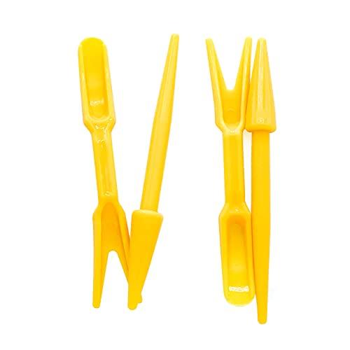 Pikier-Set 2-teilig - Bestehend aus Pikierstab und Pikiergabel - zum Versetzen von Setzlingen - aus hochwertigem Kunststoff/Pflanzhilfe/Gartenwerkzeug zur Aussaat (Gelb)