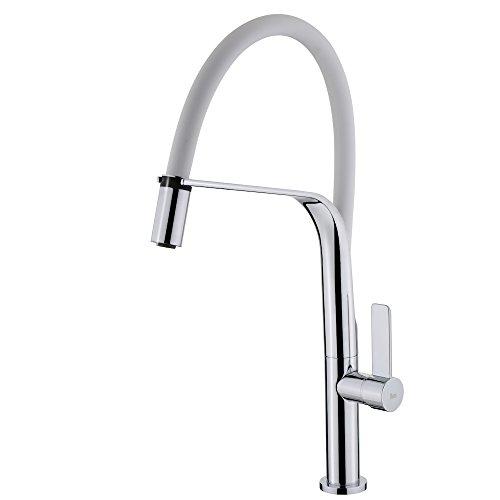 TEKA 62997020FW FO 997 - Grifo mezclador monomando para lavabo (latón, cromado), color blanco y cromado