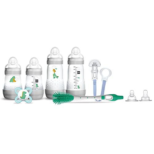 MAM Infant Basics Newborn Gift Set (9-count), Includes Easy Start Anti Colic MAM Baby Bottles, Pacifier, Baby Bottle Brush, From Newborn to 2+ Months, Designs May Vary