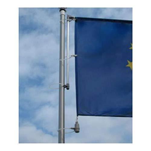 Nachrüstbarer Ausleger Basic für Fahnenmasten, hissbar, für Fahnenbreiten bis 150 cm, Aluminium pulverbeschichtet, einfache Montage inkl. PVC Tüllen und Kletterstopgewicht