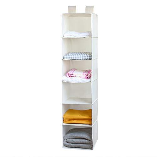 Dailyart Faltbar 6 Hänge-Aufbewahrung, Kleiderschrank Hanging Organizer - 30L x 30W x 130H (cm) - Beige