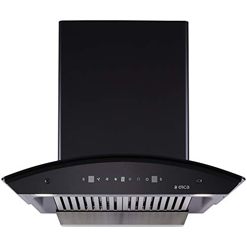 Elica 60 cm 1200 m3/hr Auto Clean Chimney with Free Installation Kit (TBC HAC TOUCH BF 60 MS NERO, 2 Baffle Filters, Touch + Motion Sensor Control, Black)