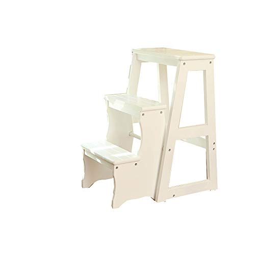 YLQC Folding 3-Step Step Stool,Portable Step Ladder,Wood Stepladders with Anti-Slip Sturdy and Wide Pedal,Household Work Use,330 Lbs (150kg) (Color : White)