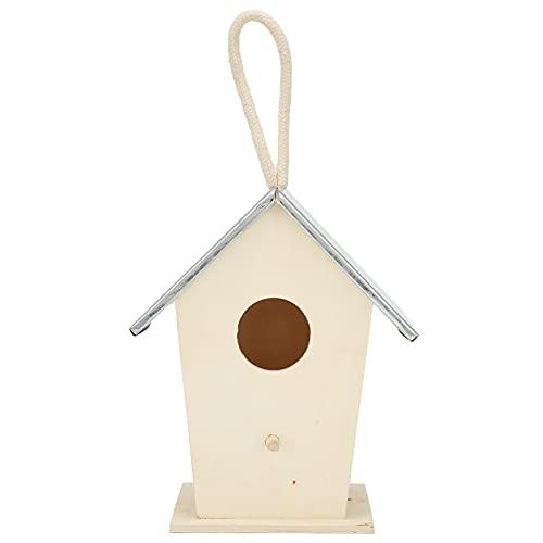 GAESHOW Caja de Jaula de Nido de cría Colgante para casa de pájaros de Madera para Accesorio Decorativo de jardín al Aire Libre de Bluebird