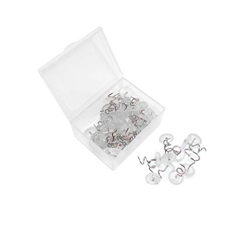 Powerful 50 Pcs Clear Heads Bed Skirt Twist Pins Push Pins Holds Upholstery Tacks, Sofa Cushion, Slip Covers and Bedskirts Firmly in Place Without Damage (50Pcs)
