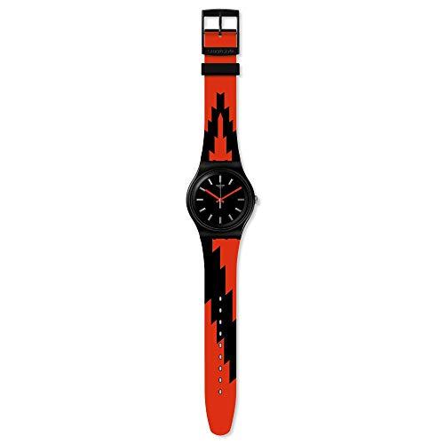 Swatch Herren Analog Schweizer Quarz Uhr mit Silicone Armband SUOB167