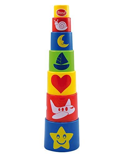 GOWI 453-07 Pyramide Standard, 7teilig, Stapel- und Steckspielzeug