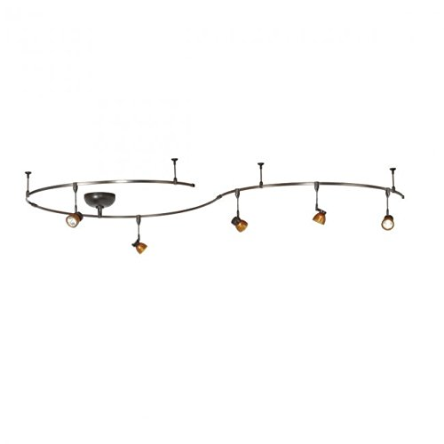 WAC Lighting LM-K8111-AS/DB Solorail 5-Light Adjustable Head Kit, Bronze with Amber Glass