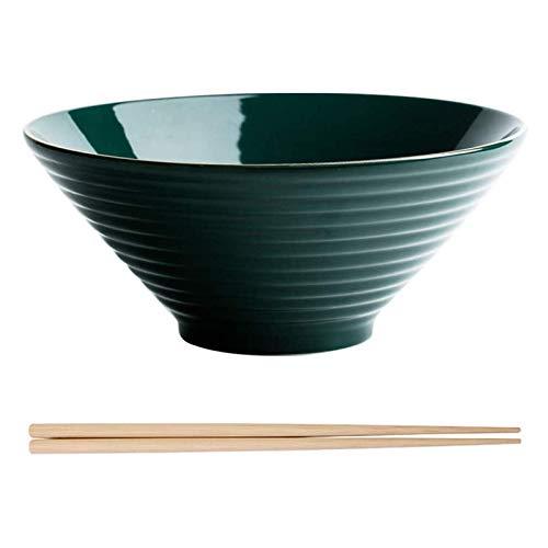 eewopjkj El Juego de Cubiertos de cerámica del Cuenco de los tallarines Incluye los Palillos de Madera Usados Color Verde 600ml 1Set