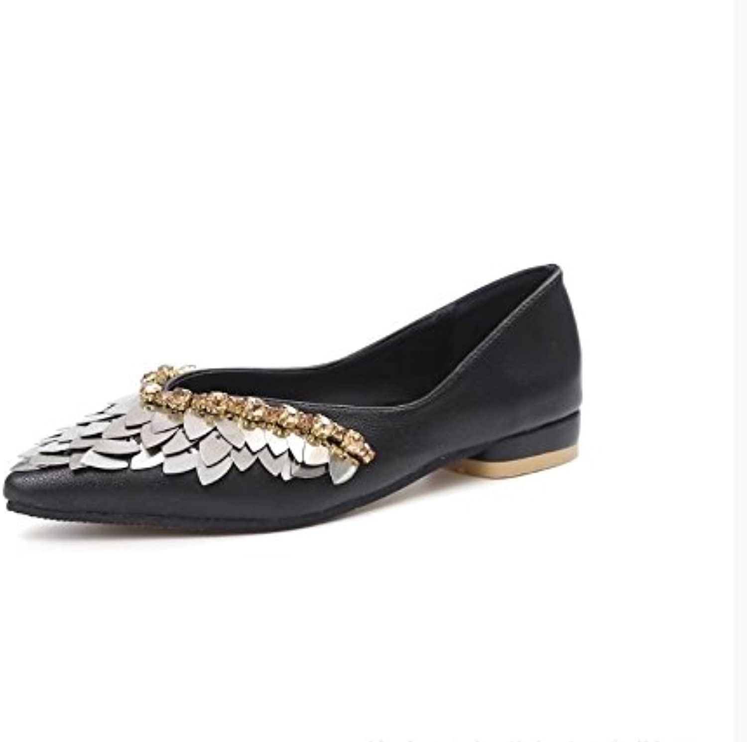 WYMBS Autumn and Winter Gifts Women's shoes Women's coarse Merchandiser shoes, Pointed Diamond, Sequins, Single shoes
