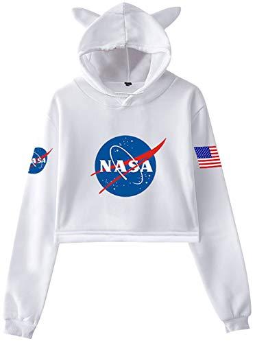 HAOSHENG Mujer Niña NASA Sudaderas con Capucha Gato Lindo Sudadera Estilo La Moda Párrafo Corto Deportivo Crop Top Hoodies