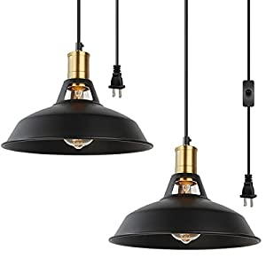 Plug in Pendant Light 2 Pack Industrial 16.4FT Hanging Light Cord with ON/Off Switch,E26 Vintage Black Pendant Light Fixture for Diningroom Kitchen Bedroom