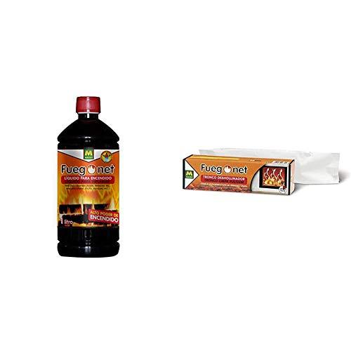 Fuegonet 231198 Liquido para encendido, Negro, 7.2x27x7.2 cm + 231168 Tronco Deshollinador, Marrón, 27.7x7.7x7.7 cm