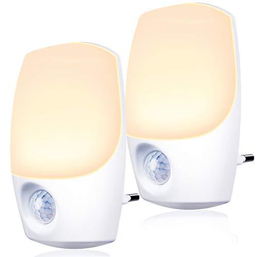 Nachtlicht steckdose mit Bewegungsmelder und Dämmerungssensor,Emotionlite 2 Stück LED Nachtlicht kind Sehr gut für Kinderzimmer, Treppenaufgang,Schlafzimmer, Küche,Orientierungslicht,WarmWeiß 2700K