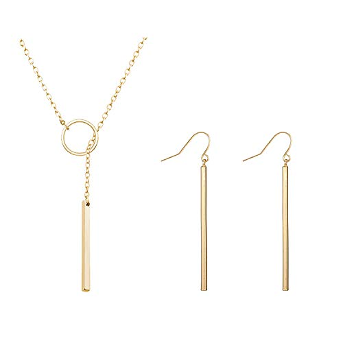 2Pcs Gold Lariat Bar Necklace Earrings Set Open Circle Y Shape Necklace Simple Earrings Vertical Bar Looped Necklace