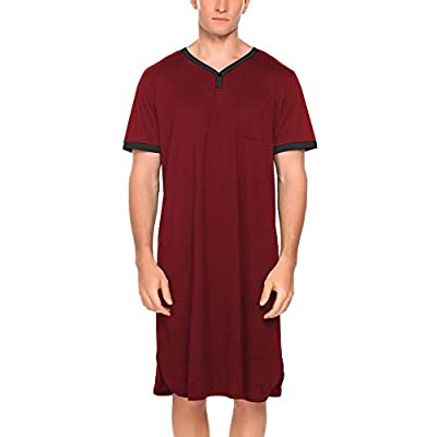 Amazon - Save 20%: Ekouaer Men's Nightshirt Nightwear Comfy Big&Tall Short Sleeve Henley Slee…