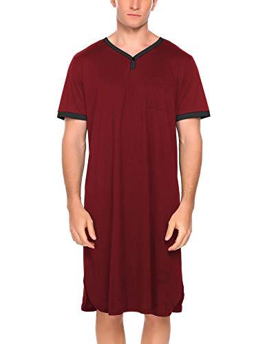 Ekouaer Men's Nightshirt Nightwear Comfy Big&Tall Short Sleeve Henley Sleep Shirt (A-Wine Red, Medium)