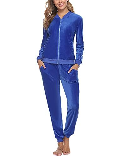 Akalnny Completo Sportivo Donna Tuta da Ginnastica 2 Pezzi Felpa + Pantaloni a Vita Alta Sportwear per Yoga Corso Palestra Jogging Fitness(Blu, S)