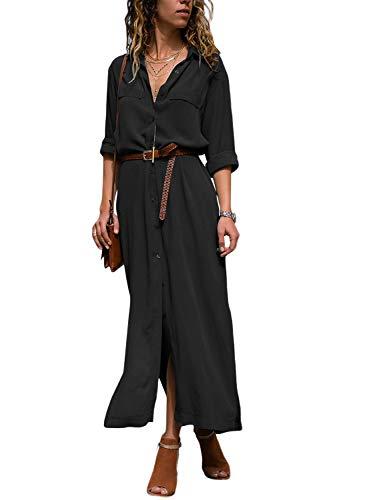Happy Sailed Damen Langarm V-Ausschnitt Elegant Lang Blusenkleid Hemdkleid Shirt Kleid Oberteil Kleid Maxikleid mit Gürtel S-XL, Schwarz, Medium (EU40-EU42)