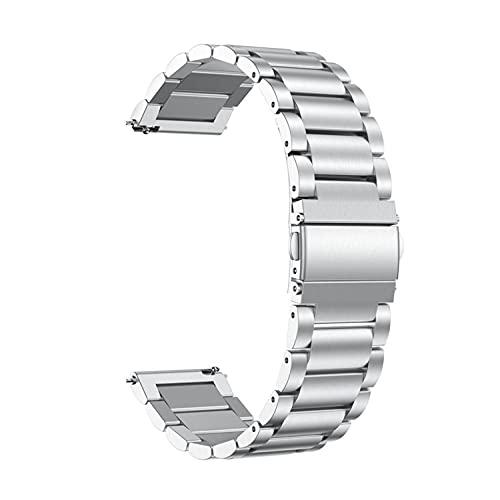Starp - Correa de reloj de metal para Samsung Galaxy Watch Active de 20 mm y 22 mm de acero inoxidable de liberación rápida de repuesto para hombres y mujeres (22 mm, plateado)