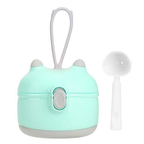 Dispensador de leche en polvo para bebés, portátil doble capa Botella de leche en polvo con cuchara Almacenamiento de alimentos Bocadillos Caja de nueces Contenedor(Verde)