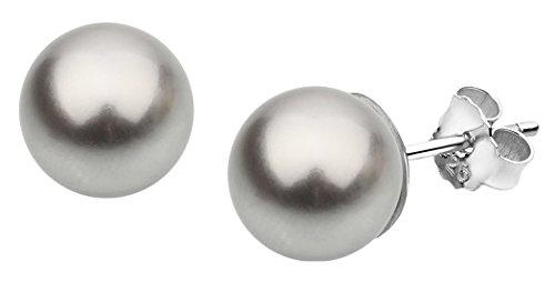 Nenalina Silber Damen-Ohrringe Ohrstecker mit Swarovski Perlen 8 mm Hellgrau für Frauen, 925 Sterling Silber, Ohrstecker für Damen mit Perlen, Hochzeit Ohrringe, 842401-193