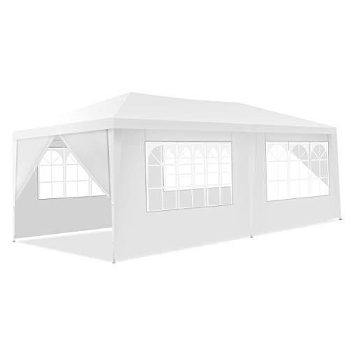 GOPLUS 3 x 6 m Partyzelt, Pavillon Zelt mit Türen & Fenstern, Festzelt mit Tragetasche, Faltpavillon aus PE–Plane, mit Abnehmbaren Seitenwänden, für Feste Party Hochzeit, Weiß