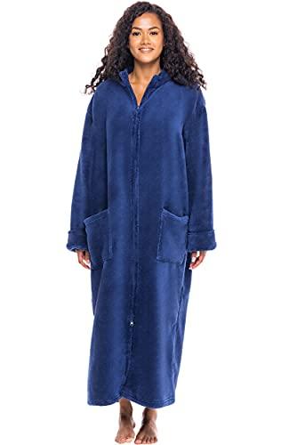 Alexander Del Rossa Women's Zip Up Fleece Robe, Warm Loose Bathrobe, Small-Medium Navy Blue (A0300NBLMD)