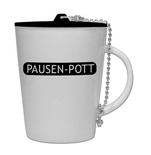 lehrerbüro Pausen-Pott, Kaffeetasse aus Porzellan, mit Kunststoffdeckel, Teetasse, Kaffeebecher, tolles Geschenk für Lehrer, spülmaschinengeeignet, Deckel & Aufdruck in Schwarz
