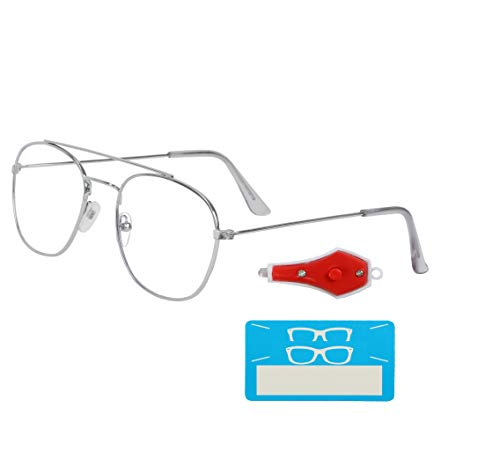 TAGGY® Premium Frame with Blue Ray Cut Block Anti glare Glasses Zero Power for Eye Protection from Computer Tablet Laptop Mobile Eyeglasses FOR men and women-round(medium)  60Mm -p-15