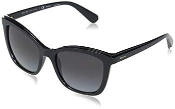 Ralph by Ralph Lauren Women s RA5252 Square Sunglasses Shiny Black/Light Grey Gradient Polarized 55 mm