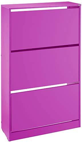 Adore Furniture Schuhschrank, groß, modern, lila, drei Etagen, für 15 Paare, idealer Flurschrank, mattes Finish