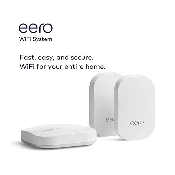 Amazon eero Pro mesh WiFi system (1 Pro + 2 Beacons) 4 Whole-home WiFi system - The Amazon eero Pro mesh WiFi system (3 eero Pros) replaces the traditional WiFi router, WiFi extender, and internet booster by covering a 5+ bedroom home with fast and reliable internet powered by a mesh network. eero 2nd generation - With the most intelligent mesh WiFi technology and powerful hardware, the eero 2nd generation WiFi system is 2x as fast as the original eero WiFi. Backwards compatible with 1st generation eero products. Cutting edge home WiFi - Unlike the common internet routers and wireless access points, eero automatically updates once a month, always keeping your home WiFi system on the cutting edge.