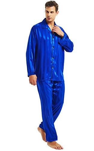 Lonxu Herren-Pyjama-Set, seidiges Satin, Schlafanzug, Loungewear, gestreift, S-4XL Gr. L, Königsblau gestreift