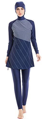 Nuevo Musulmn Trajes de bao para Mujer islmico Hijab Modesto Muslim Swimwear Completo Cubrir Nadando Ropa de Playa Nadar Traje Disfraz (Azul -2, Int'l 4XL)