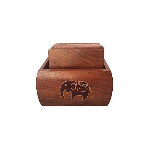 Willart Holz-Tee-Untersetzer, handgefertigt, schwarzer Elefant, für Büro, Schreibtisch, Heimdekoration